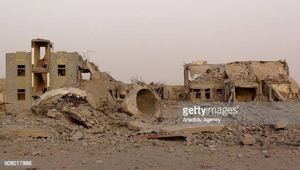 Debris of a collapsed building is seen after the war crafts belonging to the Saudiled coalition carried out airstrikes in Al Hudaydah Yemen on...
