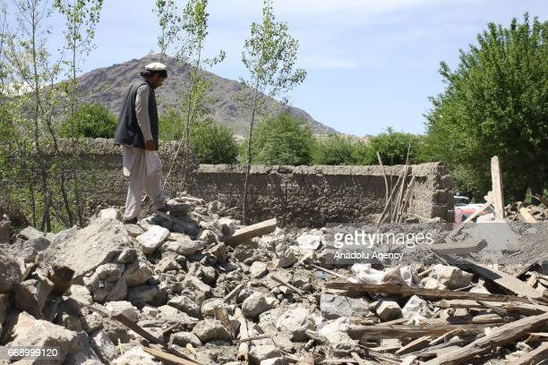 Debris of a collapsed building is seen in the Acin district after The US military dropped America's most powerful nonnuclear bomb on Daesh targets in...