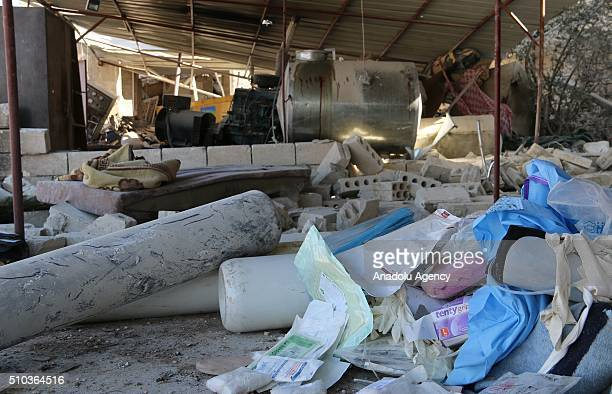 Debris of a collapsed hospital belongs to humanitarian aid organization 'Doctors Without Borders' are seen after Russian forces' airstrike over...