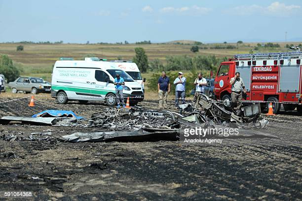 Debris of a Turkish training plane is seen after it crashed in Tekirdag's Ergene district, Turkey on August 17, 2016. Pilot of the plane and the...