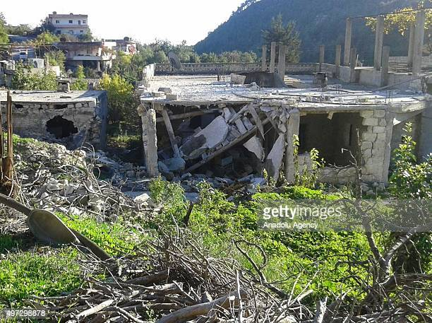 Debris of buildings are seen after Russian airstrikes at Bayirbucak Turkmen region in Latakia Syria on November 15 2015