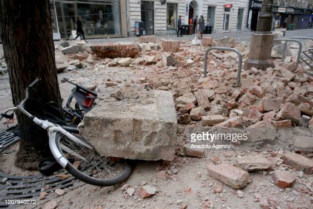 Debris of buildings spread in the ground after a 5.3 earthquake on March 22, 2020 in Zagreb, Croatia. A magnitude 5.3 earthquake struck the Croatian...