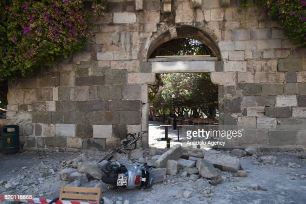 Debris of collapsed buildings are seen after a 66magnitude richter scale earthquake in Kos Island of Greece on July 21 2017 At least two people were...