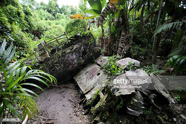 Debris of the Imperial Japanese Navy A6M 'Zero' fighter is seen in the tropical forest on April 8 2015 in Peleliu Island Palau About 10000 Japanese...