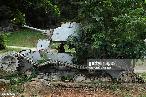 Debris of the Imperial Japanese Navy Type 95 HaGo tank remain on August 28 2016 in Saipan Northern Mariana Islands The war was opened up 75 years ago...