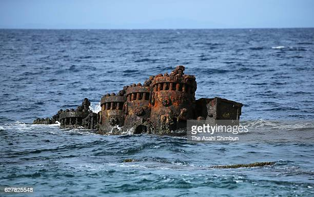 Debris of the Japanese Imperial Navy transport vessel Kinugawa Maru lies at Tassafaronga beach on September 3 2016 in Guadalcanal Island Solomon...