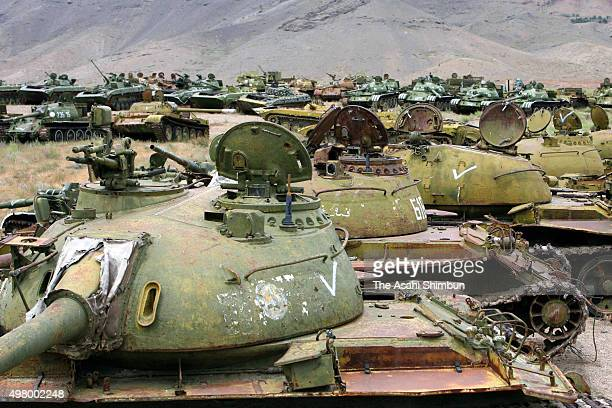 Debris of the Soviet Union's army tanks are seen off Charikar on May 25 2007 in Charikar Afghanistan