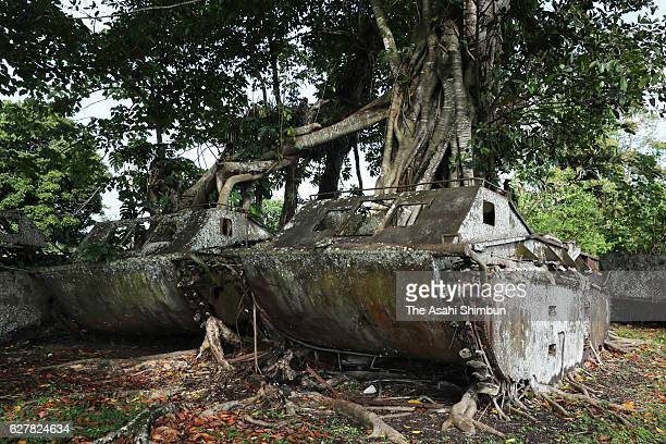 Debris of the United States Marine Corps amphibious tractors remain in a jungle on September 7 2016 in Guadalcanal Island Solomon Islands The war was...