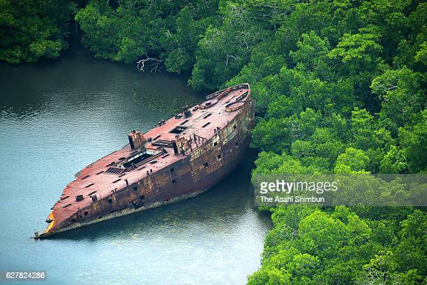 Debris of the United States Naval transport vessel remains abondoned after stranded on August 31 2016 in Nggela Islands Solomon Islands The war was...