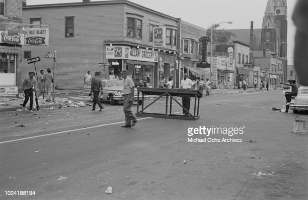 Debris on Joseph Avenue at the junction with Catherine Street during the 1964 Rochester race riot in Rochester New York State 25th26th July 1964