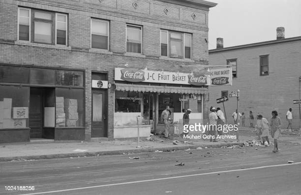 Debris on Joseph Avenue during the 1964 Rochester race riot in Rochester New York State 25th26th July 1964