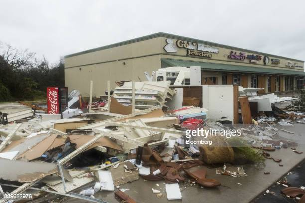 Debris sits in a shopping center after Hurricane Harvey hit Rockport Texas US on Saturday Aug 26 2017 As Harvey's winds die down trouble for Texas...