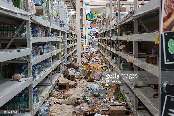 Debris sits inside a Bodega Comercial Mexicana store following looting in Veracruz City Mexico on Sunday Jan 8 2017 Mexico's National Association Of...