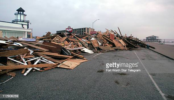 Debris was piled up on Galveston Island in Texas on Sunday September 14 after Hurricane Ike hit the Texas coast