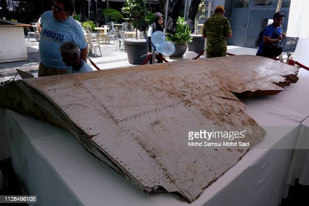 A debris wing flap part of Malaysia Airlines found in Pemba Island Tanzania display on the table during 5 Years of Remembrance for Malaysian Airlines...