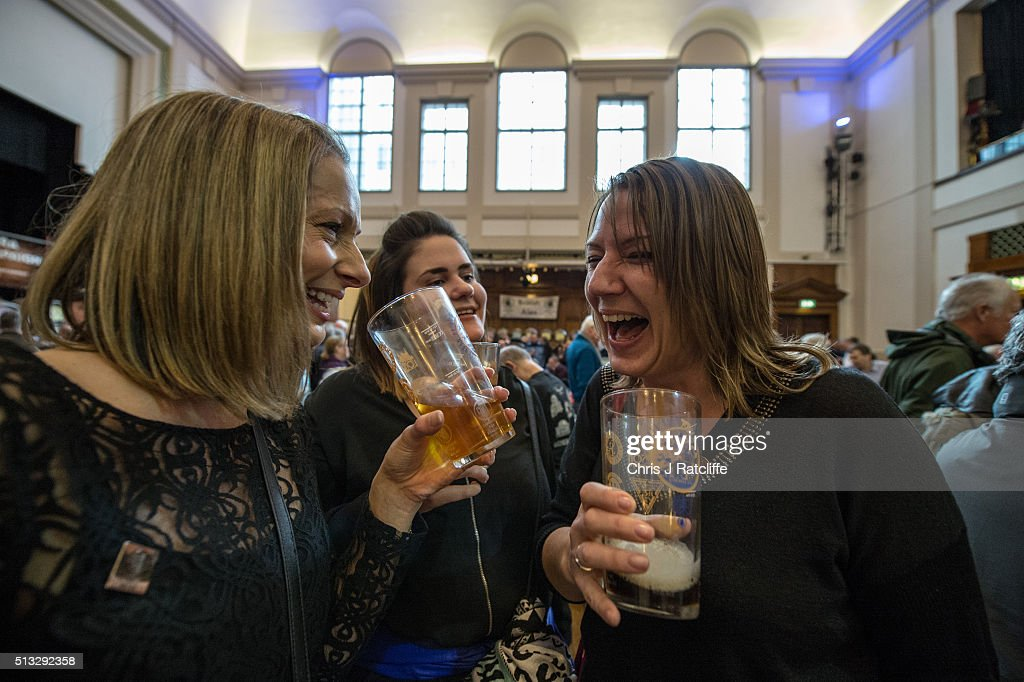 Drinkers Visit The London Beer And Cider Festival : News Photo
