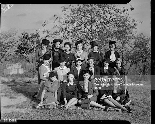Debs About Town members posed outdoors Pittsburgh Pennsylvania 1939 Back row from left Beatrice Posey Roslyn Lindsay Helen Douglass Adah Moore Ruth...