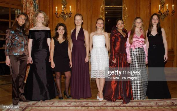 Debs gather at the Berkeley Dress Show for the traditional start of the London Deb season From From Left to right Rebecca Lancaster Claire Rumbellow...