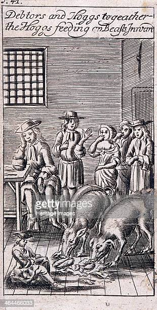 Debtors and pigs occupying one room in Fleet Prison London 1691 From Moses Pitt's The cry of the oppressed