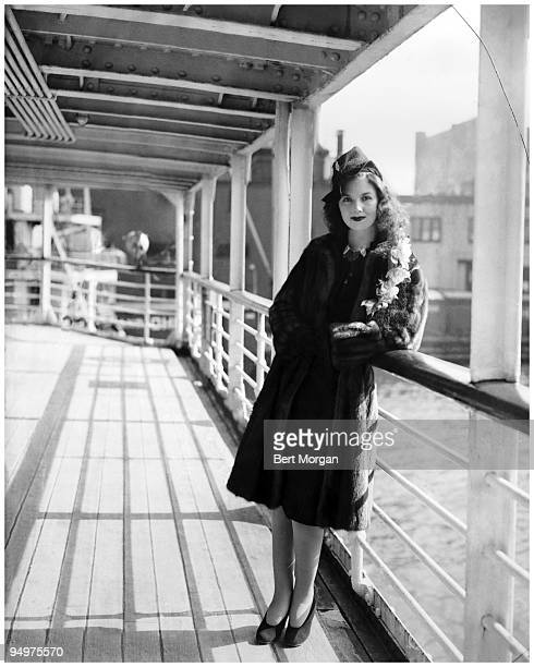 Debuntante Brenda Frazier in fur coat on the deck of the SS Mungaro on her way to the Bahamas 1930s