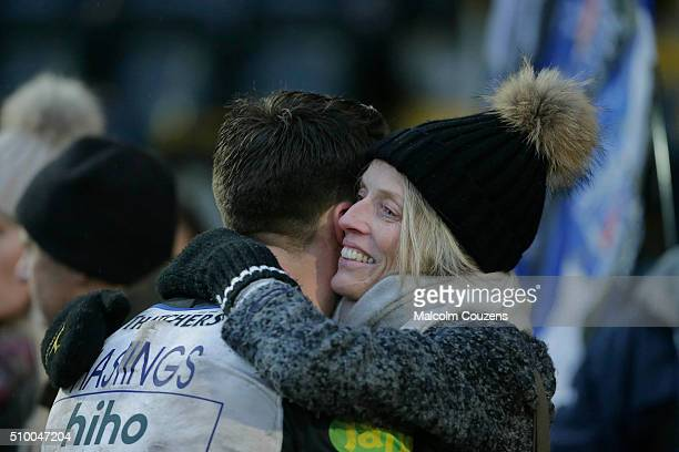 Debutant Adam Hastings of Bath Rugby is greeted by his mother Diane Hastings who suffers with Parkinsons disease following the Aviva Premiership...