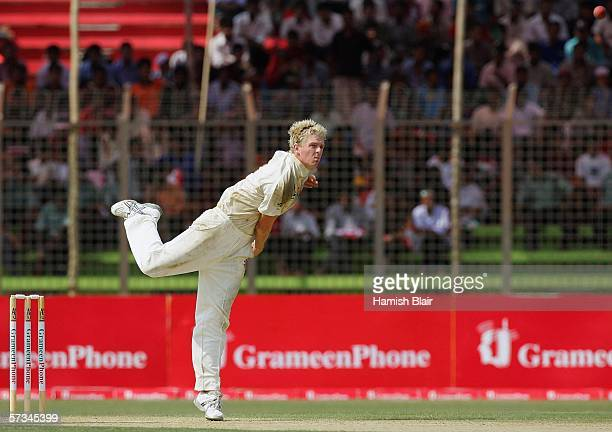 Debutant Dan Cullen of Australia bowls his first ball in Test cricket during day one of the Second Test between Bangladesh and Australia played at...