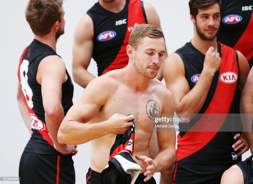 Debutant Devon Smith gets prepared for during an Essendon Bombers team photo session at The Hangar on February 6, 2018 in Melbourne, Australia.
