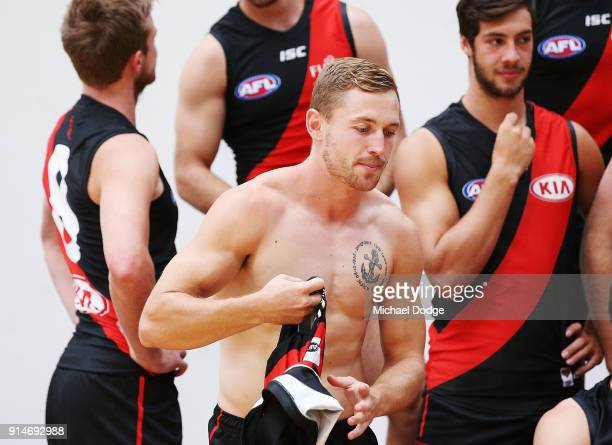 Debutant Devon Smith gets prepared for during an Essendon Bombers team photo session at The Hangar on February 6 2018 in Melbourne Australia