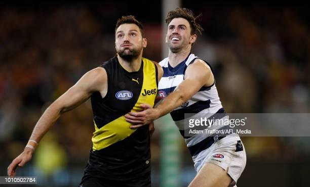 Debutant Ryan Abbott of the Cats and Toby Nankervis of the Tigers Collingwoodr during the 2018 AFL round 20 match between the Richmond Tigers and the...