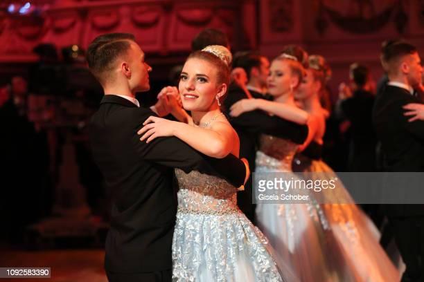 Debutante Johanna Mross, daughter of Stefanie Hertel and Stefan Mross, dances during the 14th Semper Opera Ball 2019 at Semperoper on February 1,...