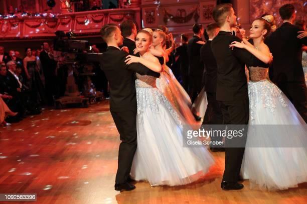 Debutante Johanna Mross daughter of Stefanie Hertel and Stefan Mross dances during the 14th Semper Opera Ball 2019 at Semperoper on February 1 2019...
