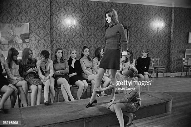 Debutante Vickie Lewis prepares for the Berkeley Dress Show with a course in modelling at the Lucie Clayton Charm Academy London 30th March 1967...