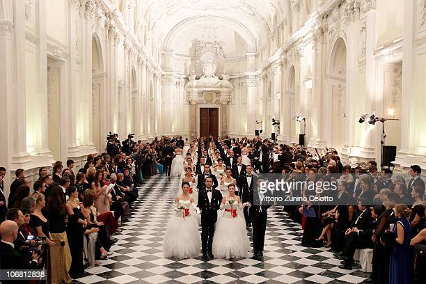 Debutantes and Cadets of the Accademia Navale di Livorno arrive at the Gala Ball at Venaria Reale on November 13 2010 in Turin Italy