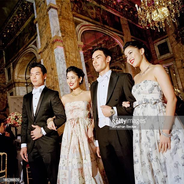 Debutantes and escorts Xuan Mu Miyuki Uramune Ken Foulfoin and Ikue Uramune photographed at the Crillon Debutante Ball for Vanity Fair Magazine on...