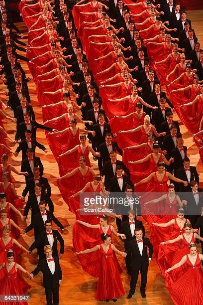 Debutantes and their escorts dance at the Semper Opera Ball on January 16 2009 in Dresden Germany