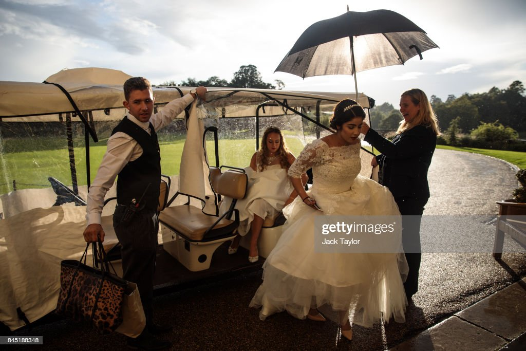 Debutantes arrive at Leeds Castle for the Queen Charlotte's Ball on September 9, 2017 in Maidstone, England. In 1780 the first debutante's Ball was held by King George III to celebrate the birthday of his wife Queen Charlotte and raised money for a maternity hospital. Society girls were presented to the monarch and it became an annual event and important as a marriage market for the upper echelons of society. The London Season runs for six months of the year including sporting events, cocktail parties, dances and concerts and the Ball is the pinnacle of this season. After the present Queen terminated the practice of introducing debutantes at royal garden parties in 1957, Lady Howard de Walden followed by then editor of Tatler, Peter Townend, continued the tradition and on his death Peter nominated former debutantes Jennie Hallam-Peel and Patricia Woodall to take over running of The London Season. It is now focussed on raising money for children in need worldwide and the Queen Charlotte's Ball has been held in Shanghai and Dubai as well as various grand venues in London. This year the debutantes' gowns have been supplied by Berketex Brides and the cake, to which the debutantes curtsey, is made by Pretty Gorgeous Cakes.