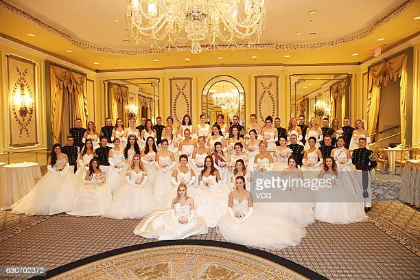 Debutantes attend the 62nd International Debutante Ball at the Grand Ballroom of the Pierre Hotel on December 29 2016 in New York United States