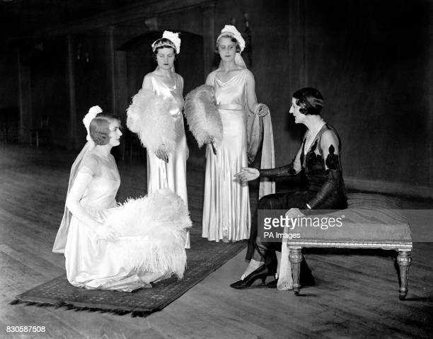 Debutantes being coached by Miss Josephine Bradley the dance and deportment teacher for the forthcoming presentations at Buckingham Palace The...
