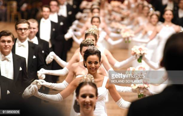Debutantes come out for the opening ceremony of the Opera Ball 2018 the sumptuous highlight of the Austrian capital's ball season on February 8 2018...