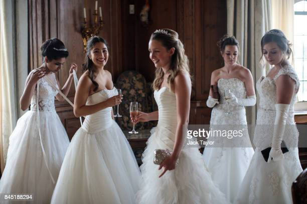 Debutantes gather at Leeds Castle during the Queen Charlotte's Ball on September 9 2017 in Maidstone England In 1780 the first debutante's Ball was...