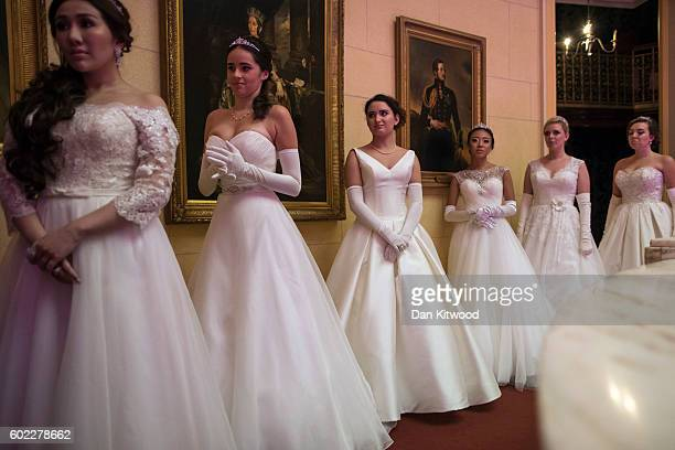 Debutantes including Anna McGovern who was named Debutante of the Year prepares for a reahearsal ahead of the Queen Charlotte's Ball at 'One...