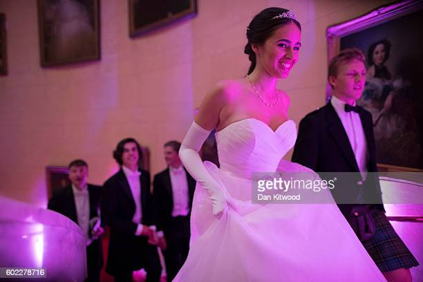 Debutantes including Anna McGovern who was named Debutante of the Year rehearse with their escorts ahead of the Queen Charlotte's Ball at 'One...