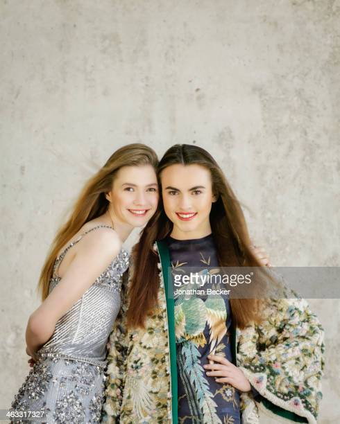 Debutantes Melusine Ruspoli and Zita d'Hauteville are photographed at a fashion shoot for Town Country Magazine on July 13 2013 in Paris France...