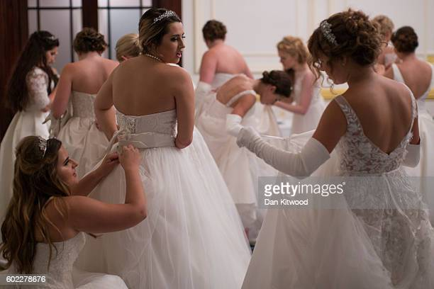 Debutantes prepare for a rehearsal ahead of the Queen Charlotte's Ball at 'One Whitehall Place The Royal Horseguards Hotel' on September 10 2016 in...