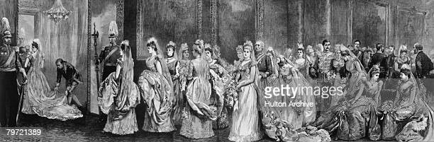 Debutantes wait in Her Majesty's Drawing Room at Buckingham Palace, before being presented to the Queen, 1891. A drawing by Arthur Hopkins, RWS....