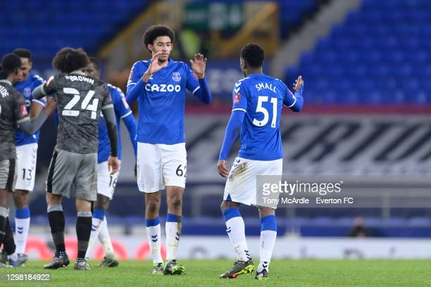 Debutants Thierry Small and Tyler Onyango during the FA Cup Fourth Round match between Everton and Sheffield Wednesday at Goodison Park on January 24...