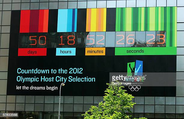 NYC2012 debuts a giant countdown clock and banner in Union Square May 16 2005 in New York City There are 50 days to go before the INternational...