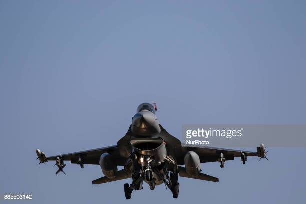 Dec 04 2017Osan South KoreaUnited States Airforce F16 flight near airbase during an VIGILANT ACE18 exercise at Osan Military Airbase in Pyeongtaek...