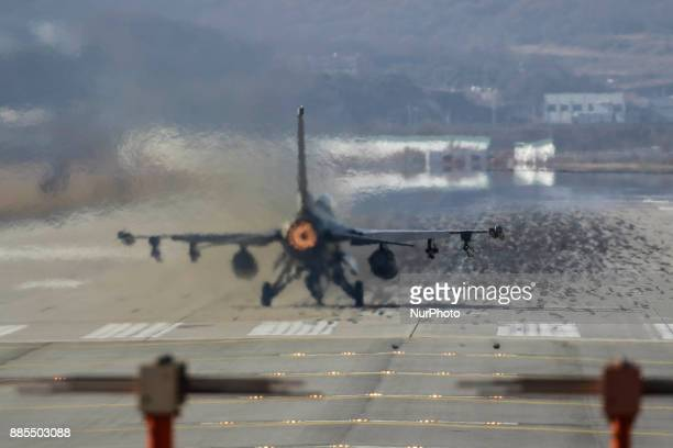 Dec 04 2017Osan South KoreaUnited States Airforce F16 flight on the runway during an VIGILANT ACE18 exercise at Osan Military Airbase in Pyeongtaek...