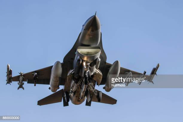 Dec 04 2017Osan South KoreaUnited States Airforce F16 landing on the runway at Osan Military Airbase in Pyeongtaek South Korea South Korea and the...